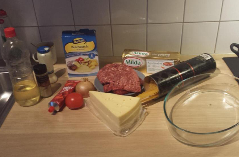 Spagetti med beasås i ugn